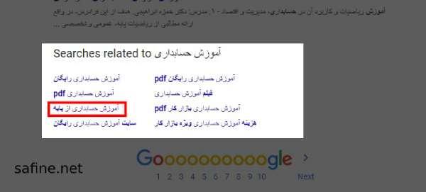 قسمت پیشنهادات مرتبط گوگل